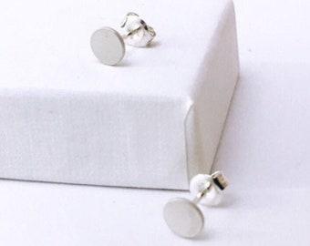 BASIC earrings DOT silver satin - Silver dot studs, silver earrings minimalist studs