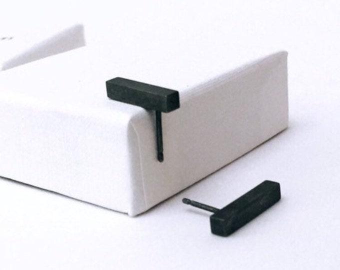 BASIC earrings black BAR satin - earrings, oxidized sterling silver studs