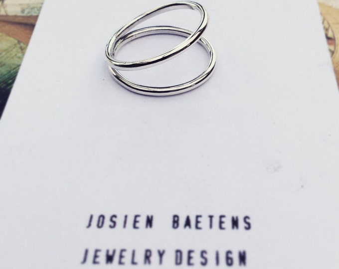 Double ring, sterling silver ring, minimalist ring, crossing rings - MADE TO ORDER