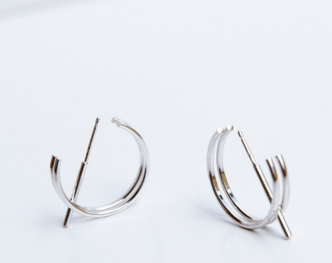 STRUCTURE I earrings silver