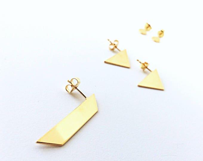 II TRAPEZOID GOLD single stud - trapezoid goldplated earring