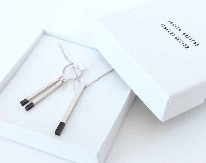 Dangling Bar Earrings dip-dye-oxidized Sterling Silver - MADE TO ORDER