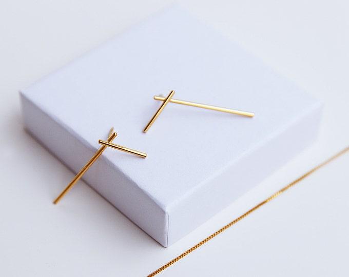 GOLD FRACTURE earrings, godplated minimalist silver