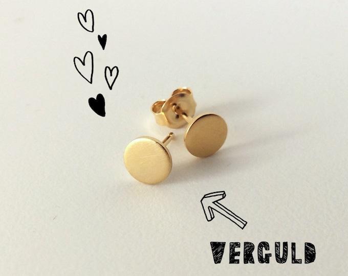 BASIC earrings gold DOT satin - goldplated round earrings