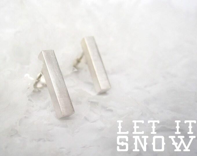 BASIC earrings BAR silver satin - Silver Bar Earrings satin finish, minimalist bar studs