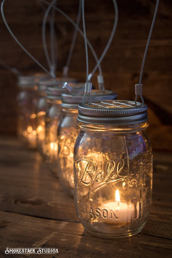 Set Of 5 Hanging Mason Jar Candle Holders Farmhouse Wedding Etsy