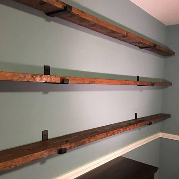 Floating Shelf Brackets - Modern Farmhouse Kitchen Shelves, Rustic Metal J  Brackets, Heavy Duty Open Shelving, Farmhouse Style, Custom Shelf