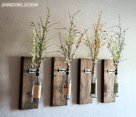 Wine Bottle Wall Vase Set Of Four Rustic Modern Etsy