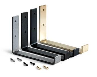 Steel Shelf Bracket, Custom Modern Black Iron Metal Shelf Brackets, Industrial Kitchen Shelf Brackets, Floating Open Shelf Rustic J Brackets