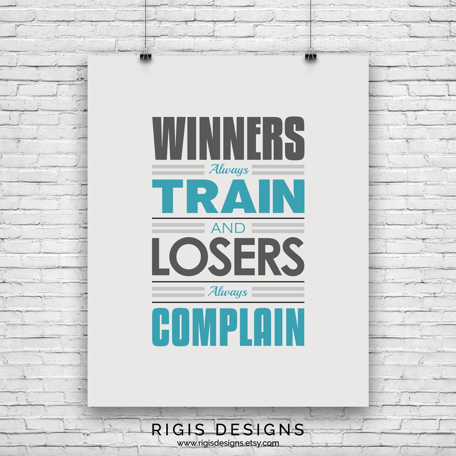 Winners Train, Gym Motivation Poster