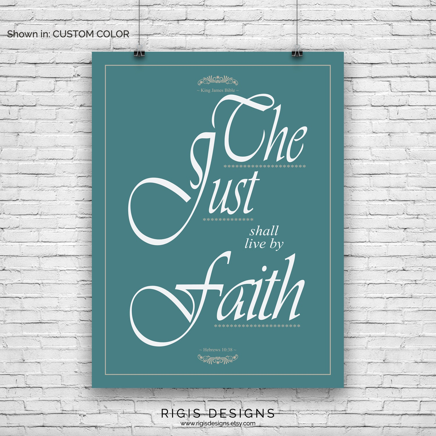 Bible Verse Art Print, Hebrews 10:38