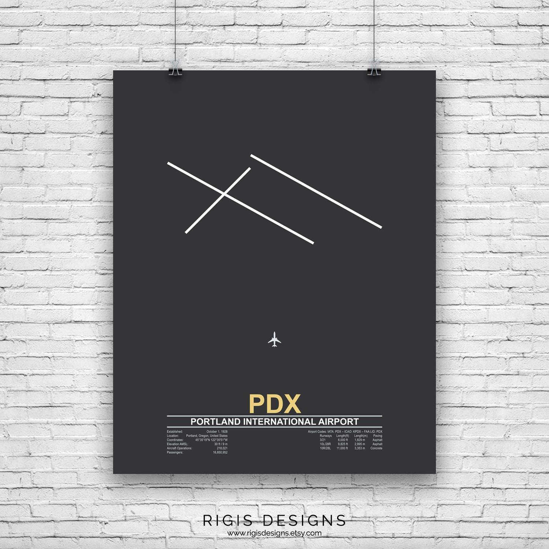 Portland International Airport (PDX), Airport Runway, Airport Runway Wall  Art, Airport Wall Art, Airport Code, Airport Print