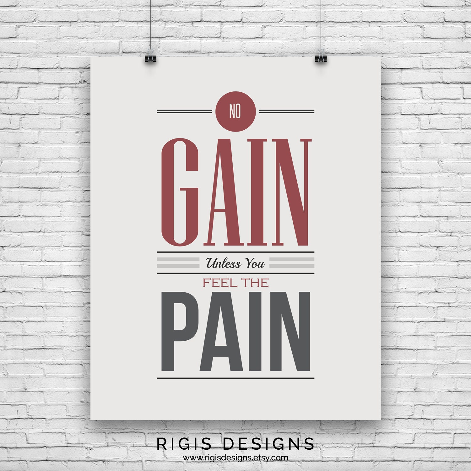 No Pain No Gain, Gym Motivation Poster