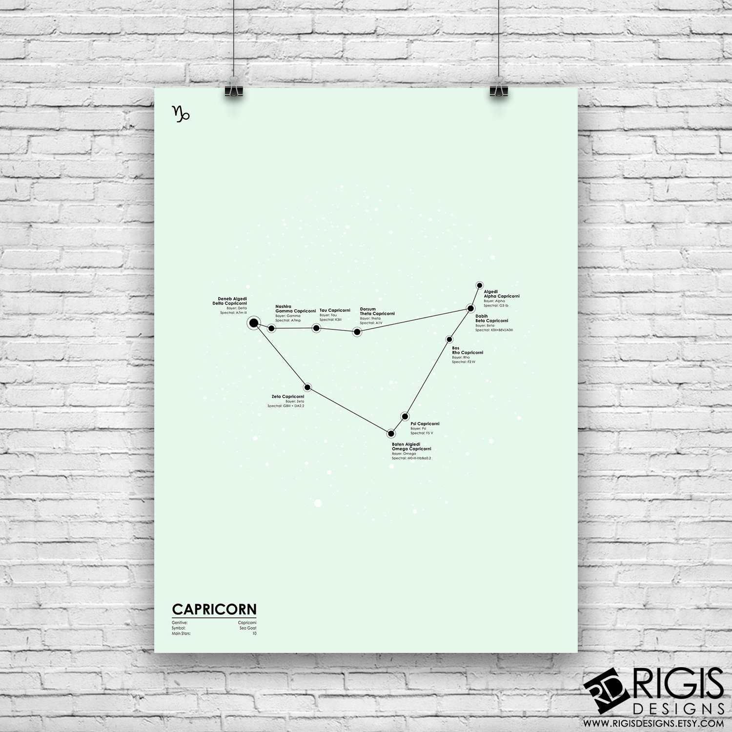Capricorn Constellation, Astronomy Print