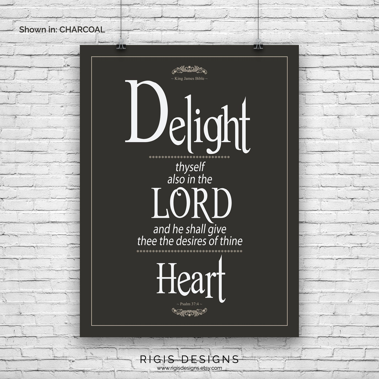 Bible Verse Art Print, Psalm 37:4