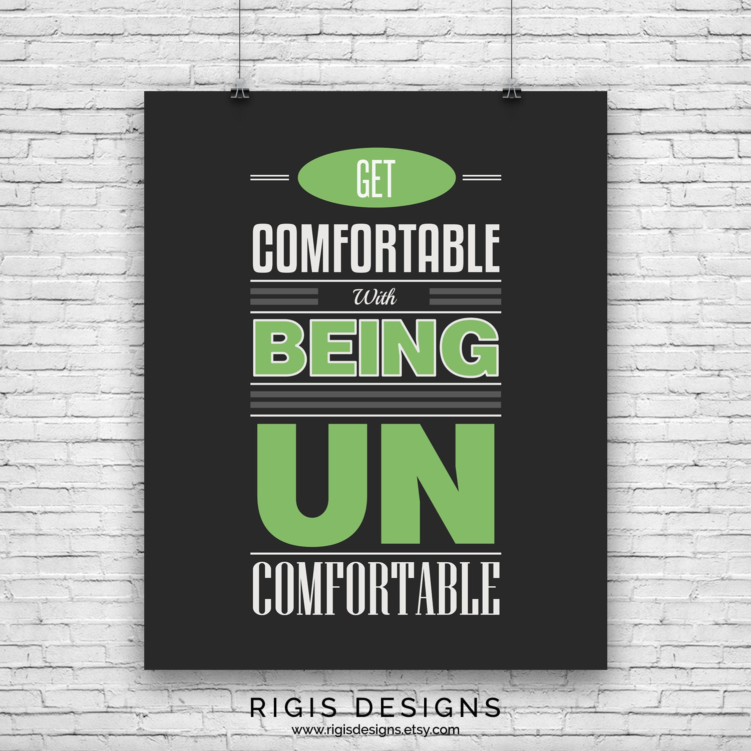 Get Comfortable Being Uncomfortable, Gym Motivation Poster