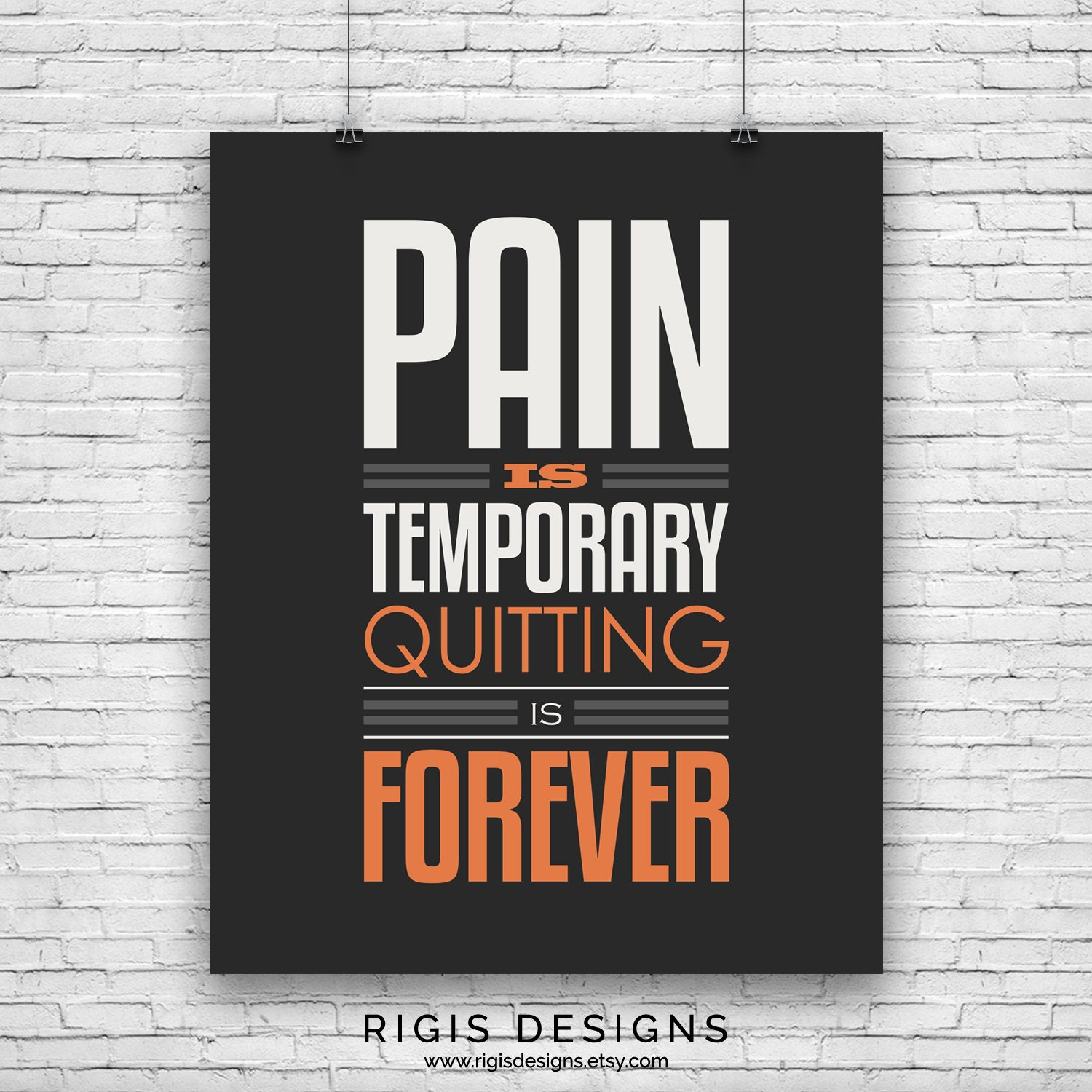 Pain is Temporary, Gym Motivation Poster