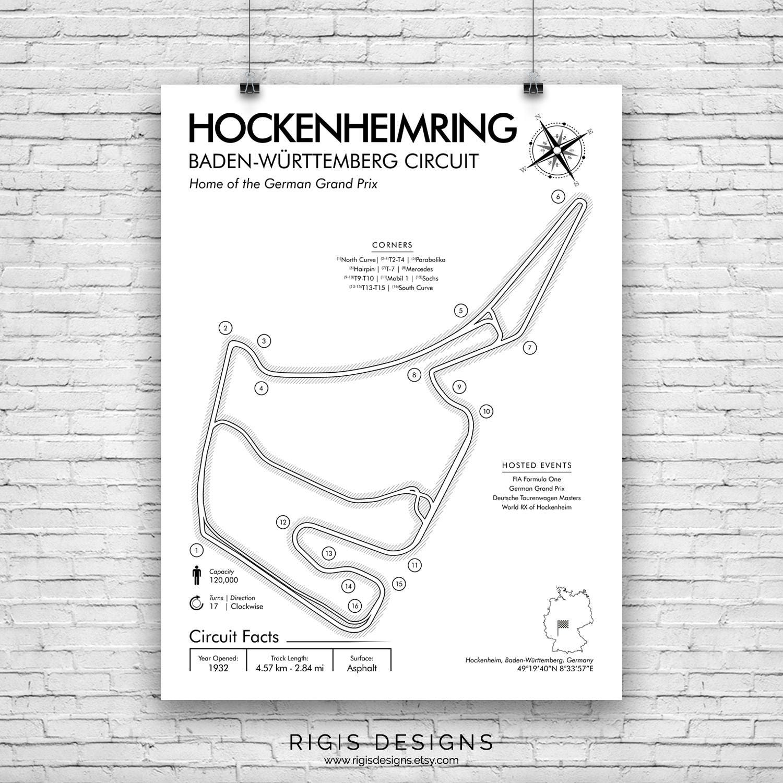 Hockenheimring Race Circuit F1 Racing Print Poster Etsy Formula 1 Diagrams Image 0