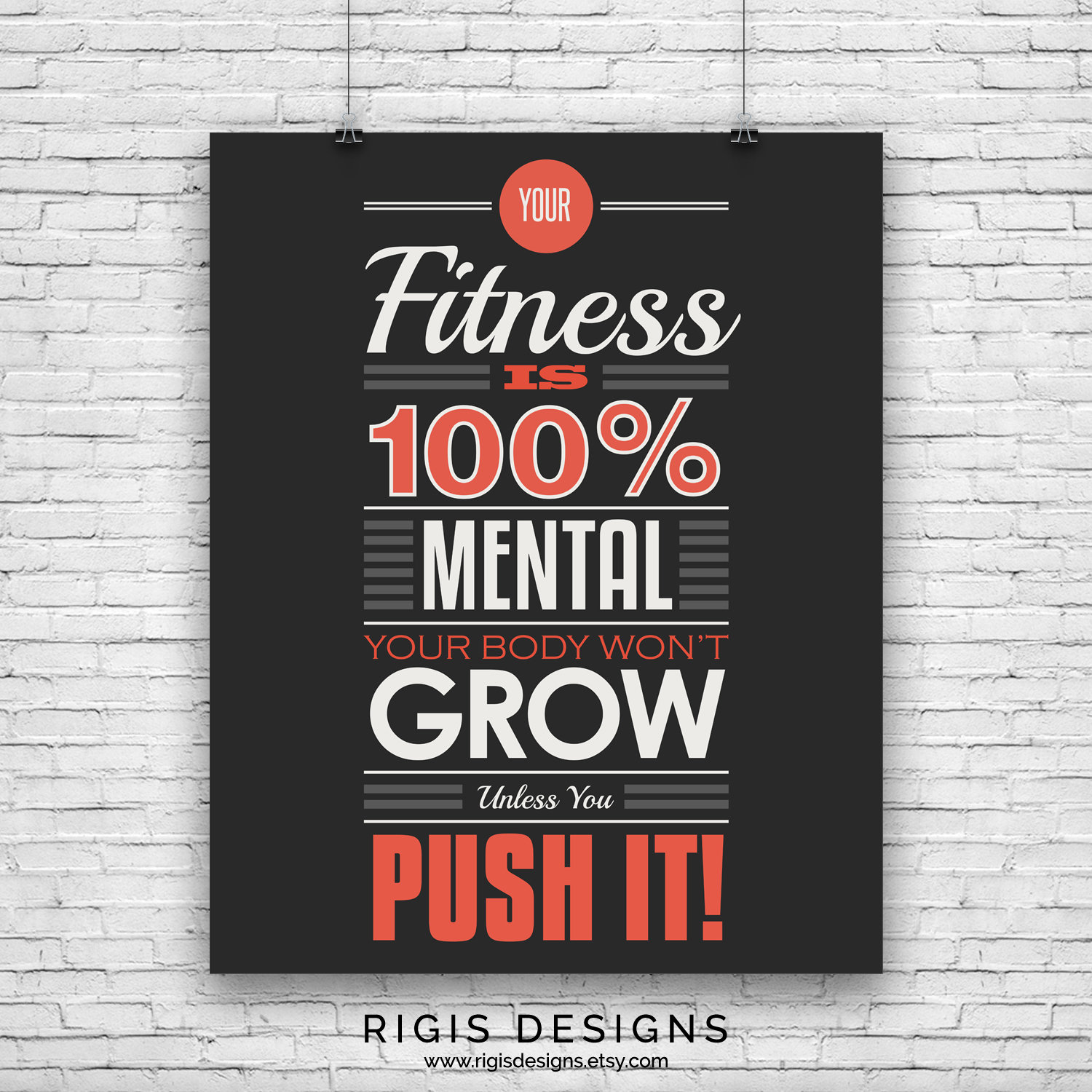 Fitness is 100% Mental, Gym Motivation Poster