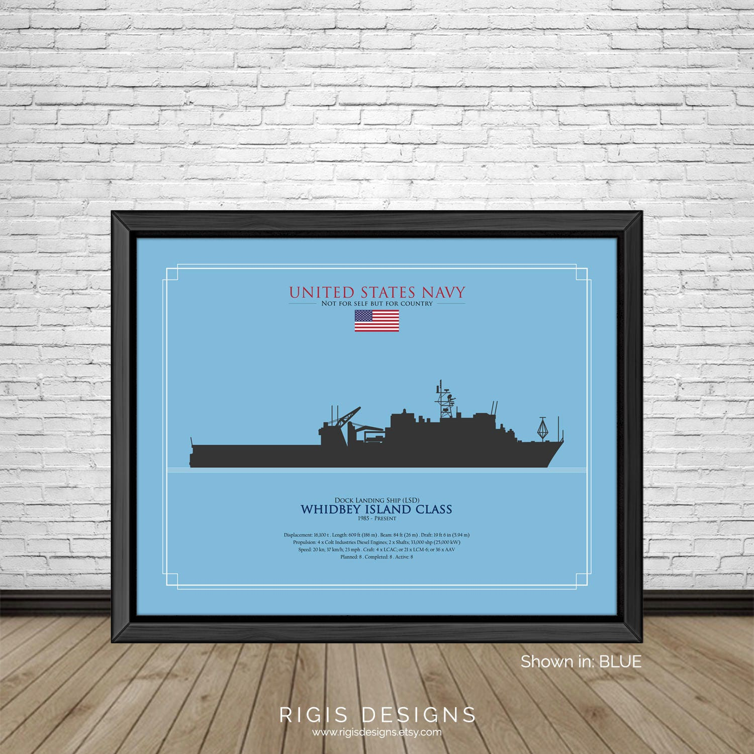 US Navy Ship Silhouette Whidbey Island Class Dock Landing Ship LSD
