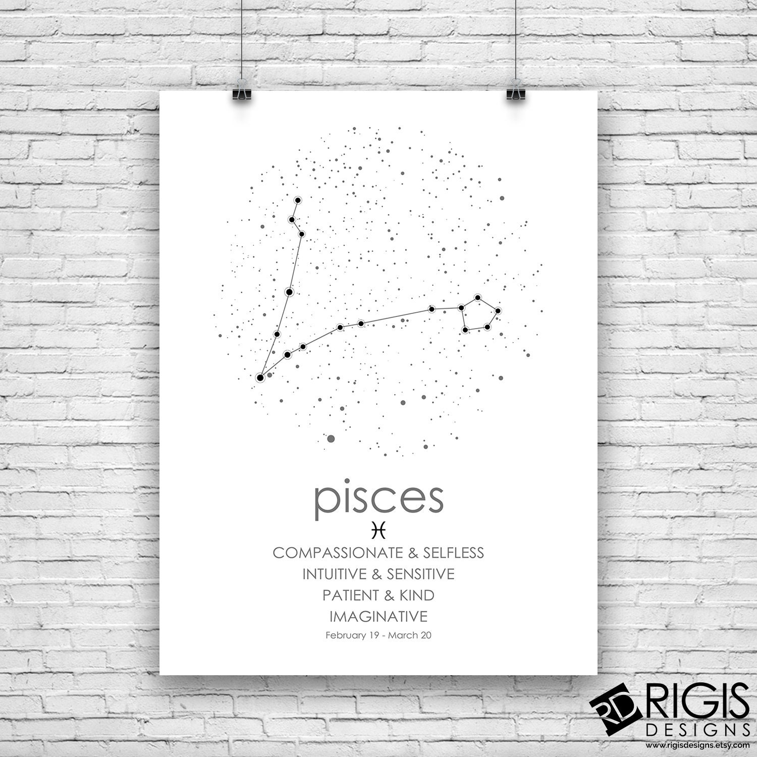 Pisces Zodiac Sign, Astrology Print