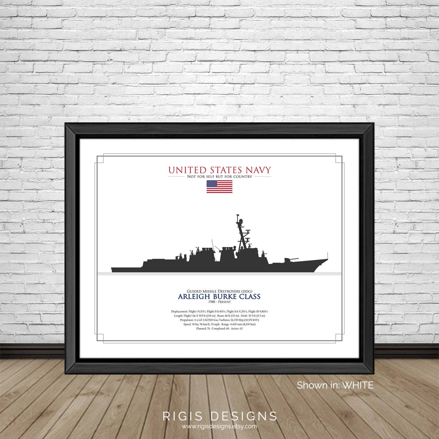 US Navy Ship Silhouette Arleigh Burke Class Guided Missile Destroyers DDG
