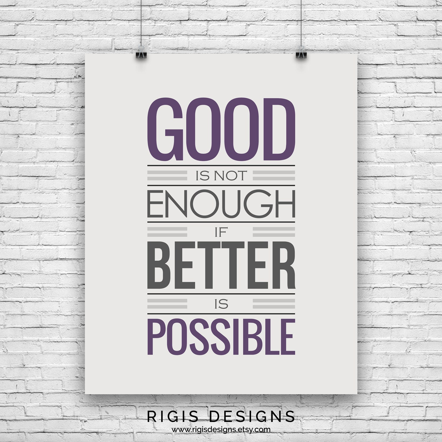 Good is Not Enough, Gym Motivation Poster