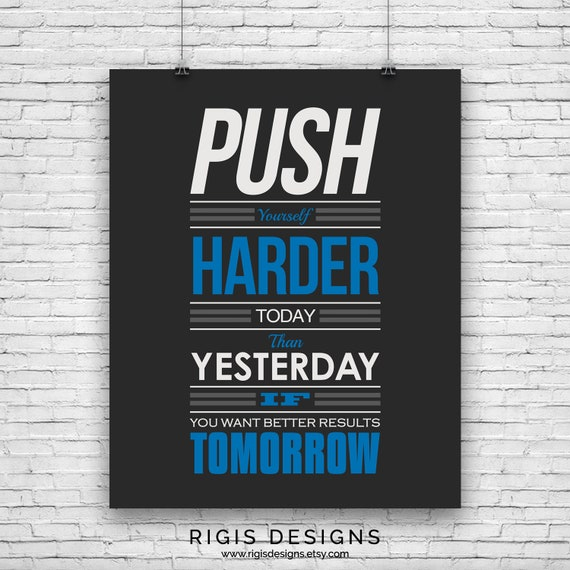 Poster Fitness Workout Quotes Motivational Inspiration Muscle Gym Font Print 06
