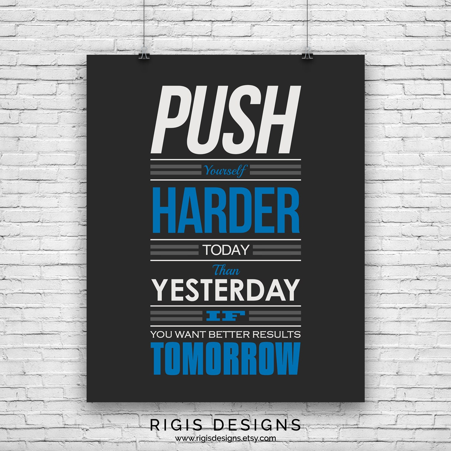 Push Yourself Harder, Gym Motivation Poster