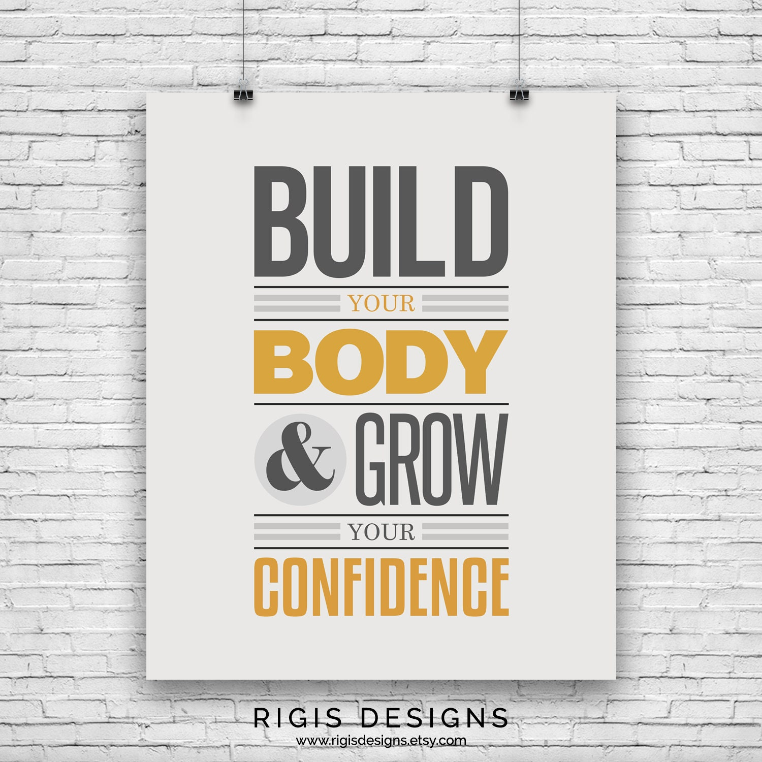 Build Your Body Grow Your Confidence, Gym Motivation Poster