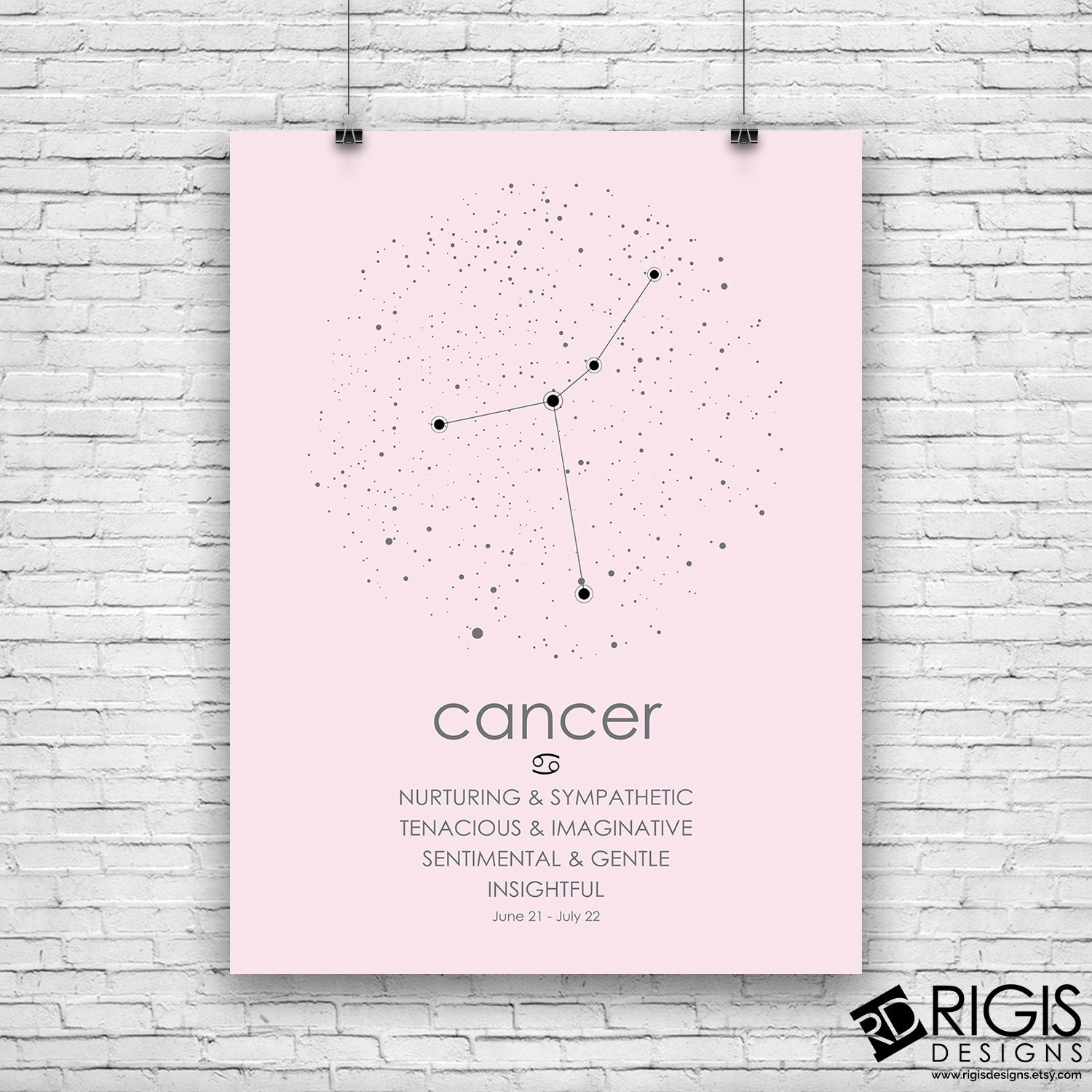 Cancer Zodiac Sign, Astrology Print