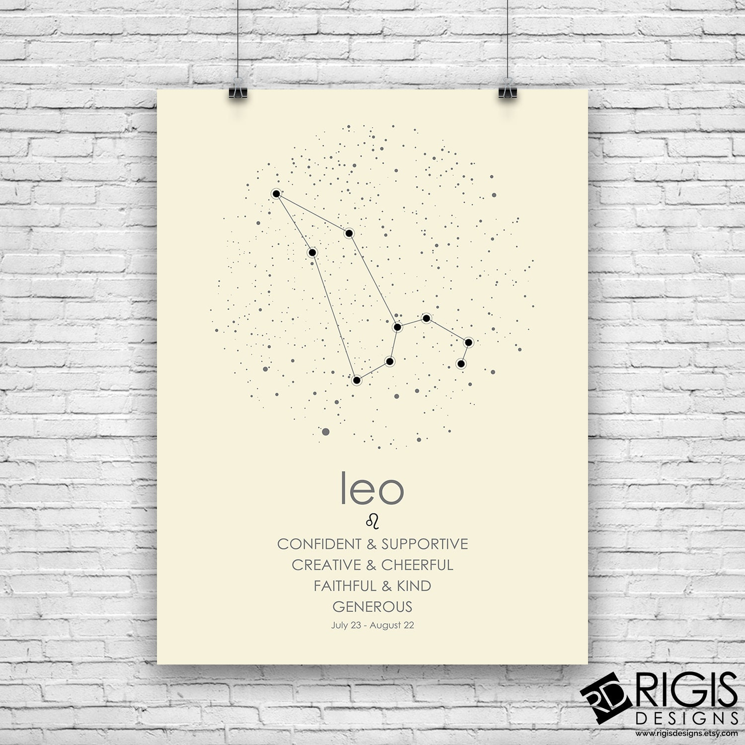 Leo Zodiac Sign, Astrology Print