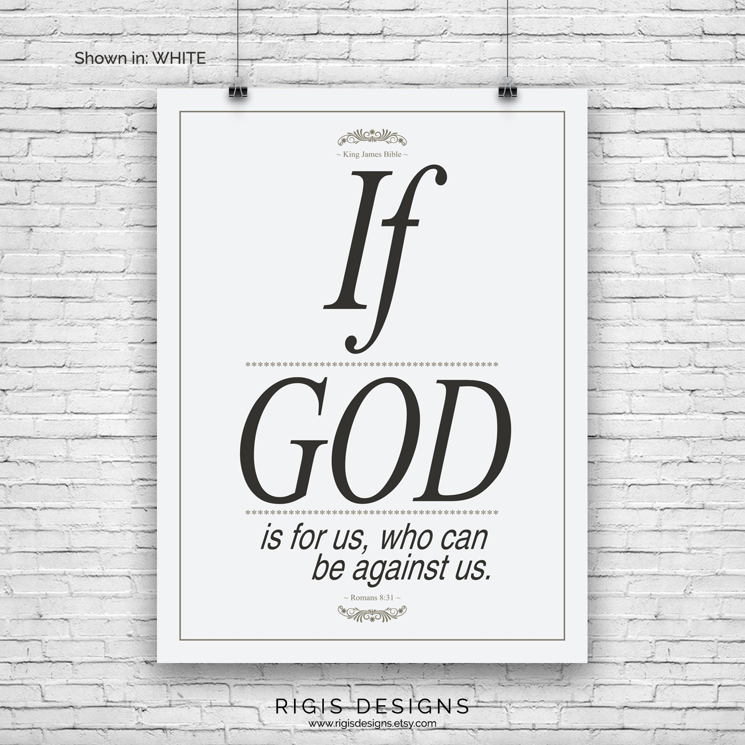 Bible Verse Art Print, Romans 8:31