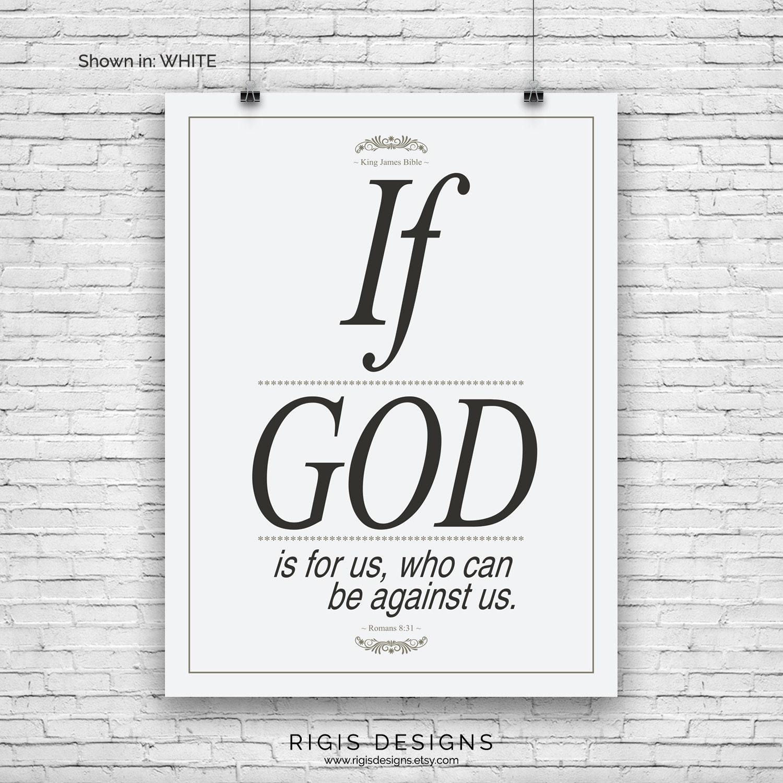 Bible Verse Art Print, Romans 8:31