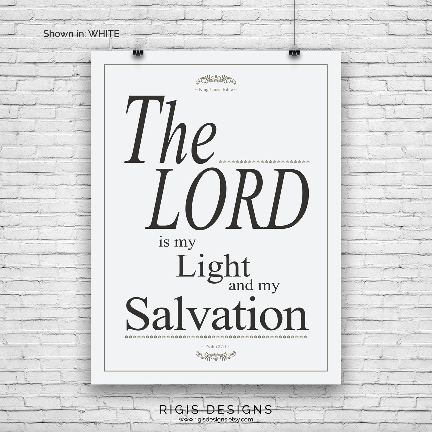 Bible Verse Art Print, Psalm 27:1