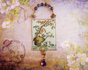 Tin Art, Tin, Art, Mixed Media, Assemblage, Vintage tin, Floral tin, Soldered, Ornament, Milagros, Decoration, Collage, Birds, Boho, Vintage