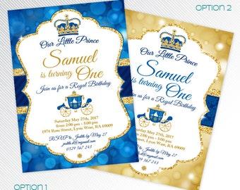 Royal blue and gold Bokeh Prince birthday party printable invitation, photo invitation, digital invitation