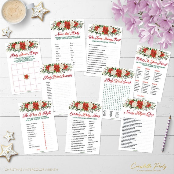 Floral Christmas Baby Shower Games Package 2 Winter Baby Shower