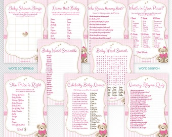 Pink teddy bear baby shower printable games package 2 - INSTANT DOWNLOAD