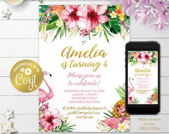 Tropical flamingo, editable hawaii flowers printable invitation, jungle birthday digital invitation, pineapple evite, corjl template