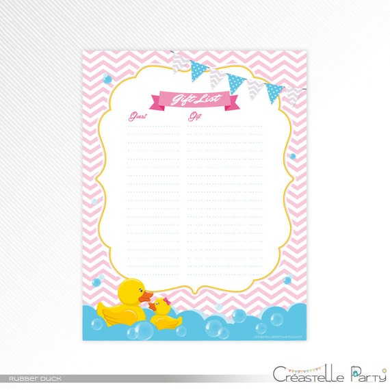 Pink Rubber Duck Baby Shower Gift List