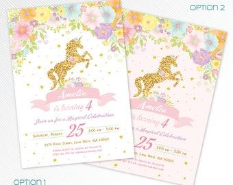 Floral gold unicorn birthday printable invitation, floral magical party invitation, photo invitation, unicorn digital invitation