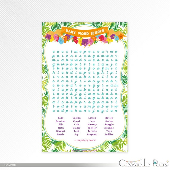 graphic relating to Printable Luau Party Games called Hawaiian luau Term Glance match, tropical youngster shower