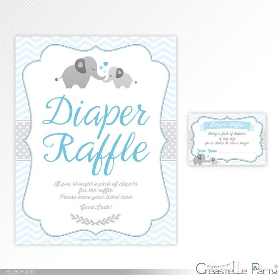 Blue Elephant Diaper Raffle Ticket And Sign Baby Shower