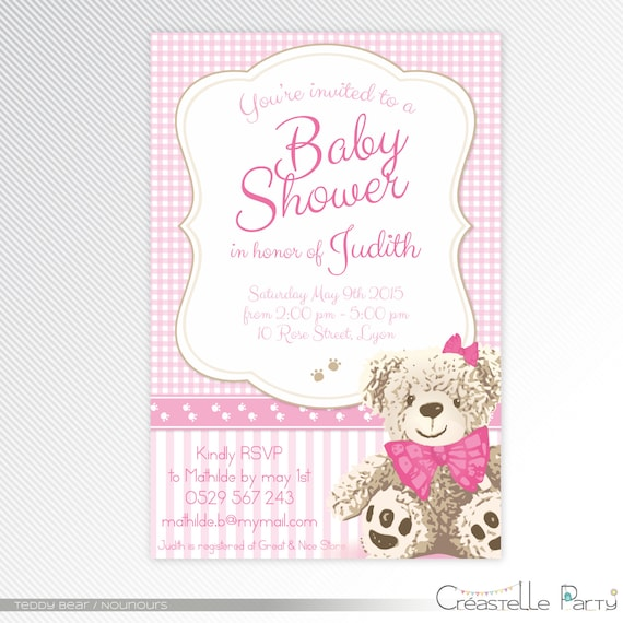 Pink Teddy Bear Baby Shower: Pink Teddy Bear Baby Shower Printable Invitation By
