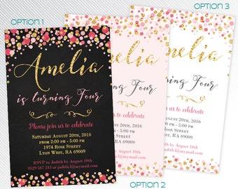 Pink and gold glitter confetti birthday party printable invitation - chalk and confetti digital invitation