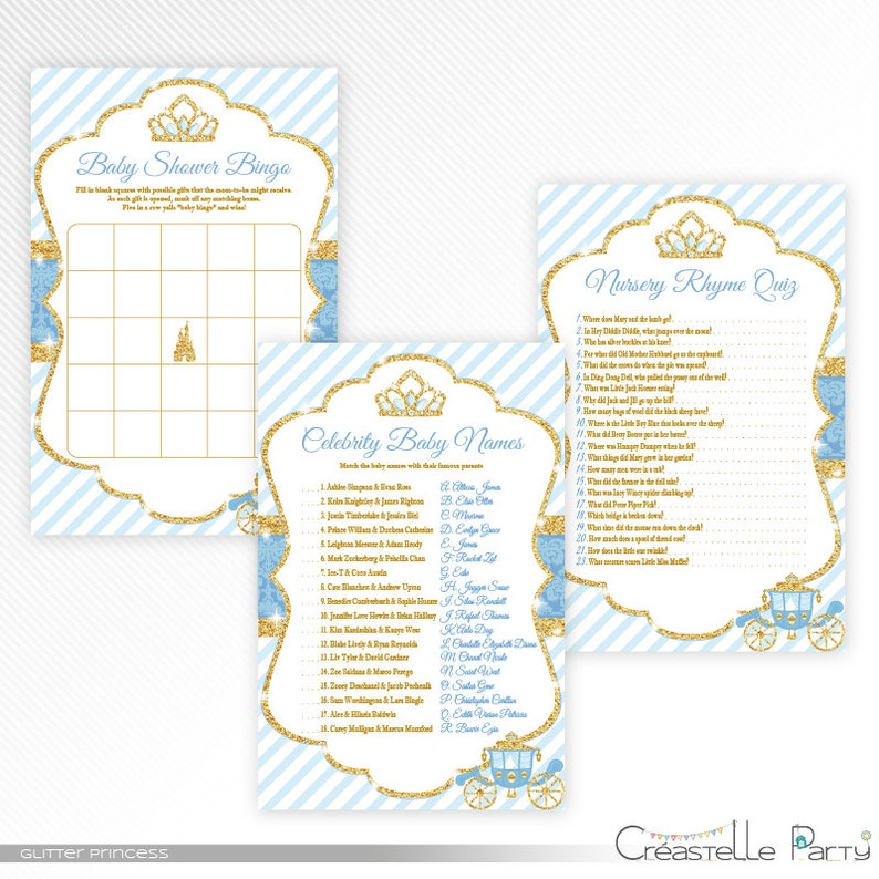 Princess baby shower printable games package 2 INSTANT DOWNLOAD blue and gold glitter royal game bundle