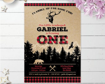 Lumberjack buffalo plaid camping birthday party printable invitation, woodland invite, wild party digital invitation