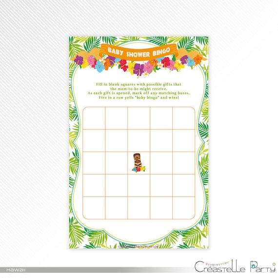 Hawaiian luau Bingo card, tropical baby shower printable