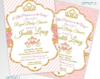Princess baby shower printable invitation, pink and gold glitter digital invitation, royal invitation